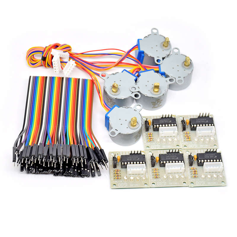 10pcs/lot 28BYJ-48-5V 4 Phase Stepper Motor+ Driver Board ULN2003 For Arduino 5 X Stepper Motor +5x ULN2003 Driver Board