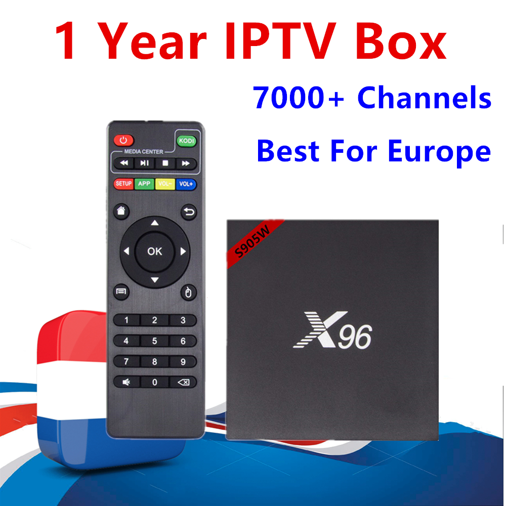 French IPTV Box 96 Android 7.1 TV Box S905w 1GB/8GB With 1 year Europe iptv subscription Dutch Sweden Live TV for smart tv box
