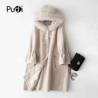 PUDI A17827 women's winter warm genuine wool fur with real fox hood coat lady coat jacket overcoat