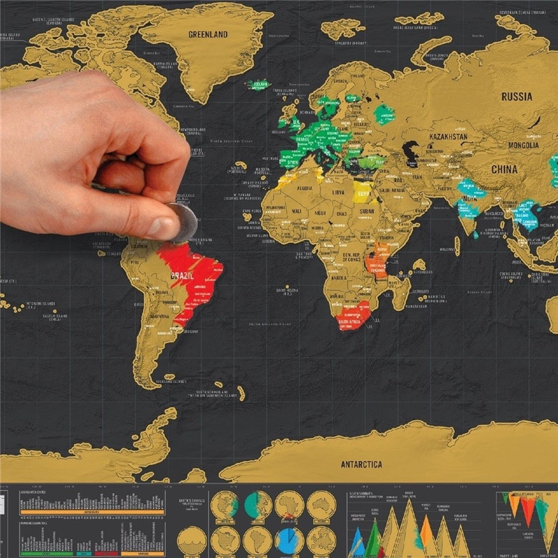happyeveryday New Deluxe Travel Edition Scratch Off World Map Poster Personalized Journal Map