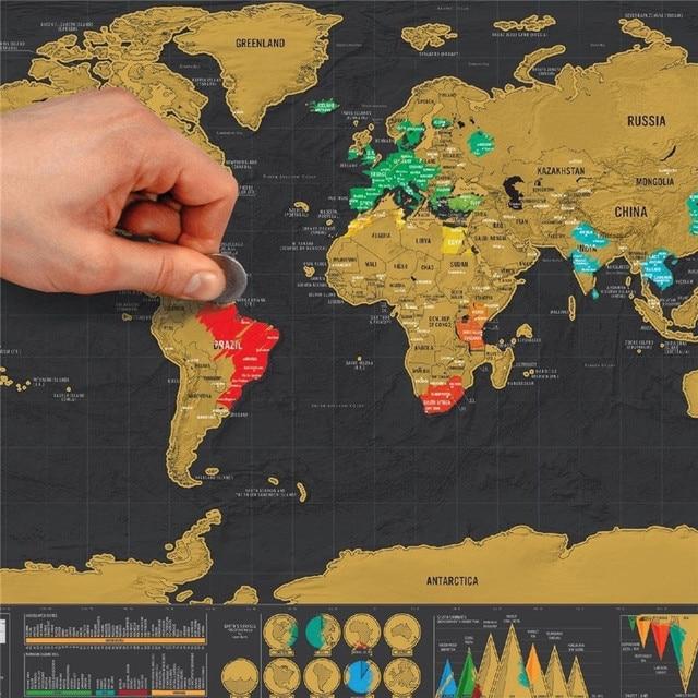 Nueva edición de viaje de lujo rayado mapa del mundo póster personalizado diario mapa