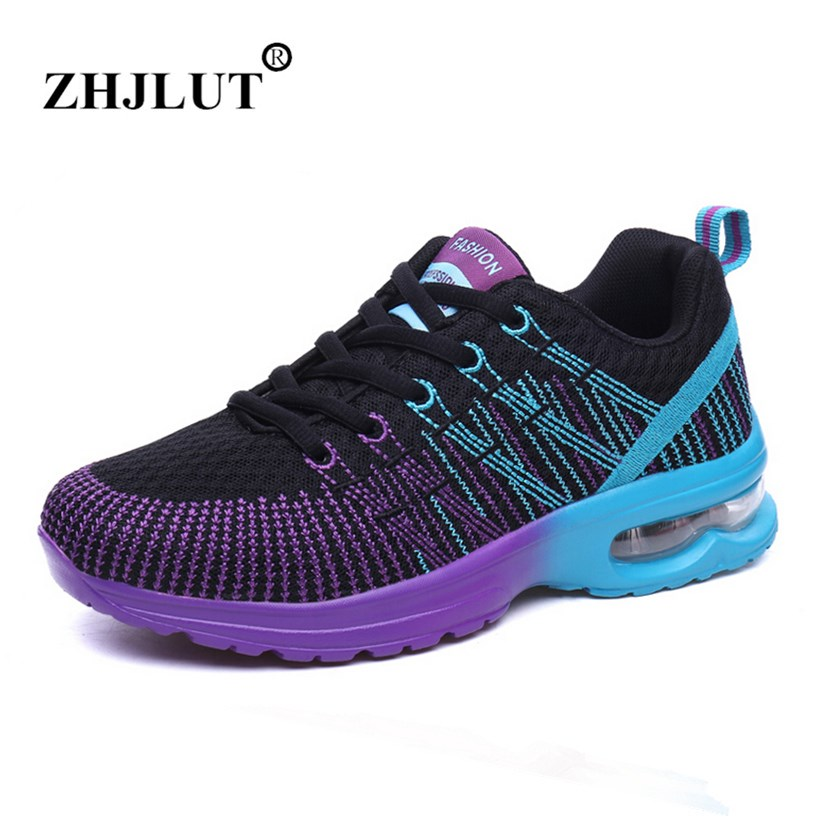 2017 New Running Shoes For Women Outdoor Damping Soft Air Cushion Sport Shoes Woman Lace-up Breathable Sneakers Women Size 35-40 li ning outdoor basketball shoes men bounse techonology tuff os lace up damping wade sneakers sport shoes abfk011 xyl049