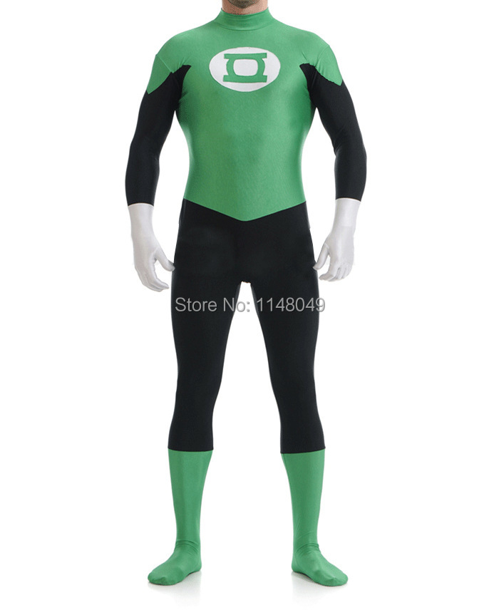 Free Shipping Green Lantern Spandex Superhero Costume Best-seller Superhero Costume