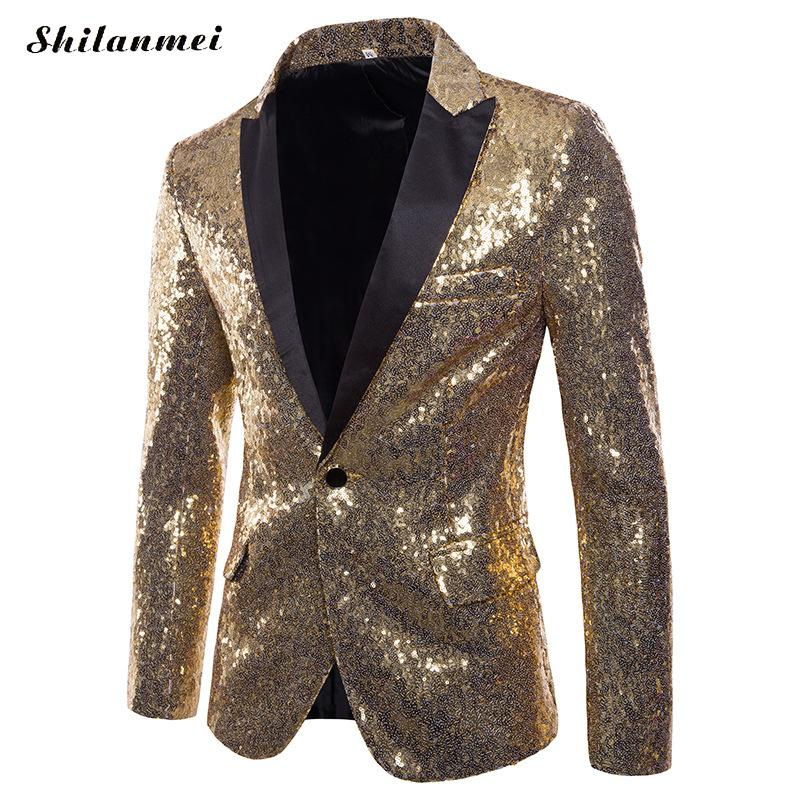 Men's Clothing Humble Fashion Men Shiny Blazers Gold Sequin Glitter Suit Jackets Male Nightclub One Button Suit Blazer Stage Blazers Autumn S-2xl