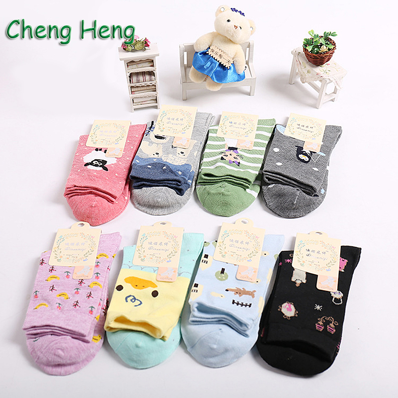 10 Pair/ Lot Novel Character Prints Women Cotton Spring Summer Socks Quality Deodorant Sweat Comfortable Female Sweet Meias Sock