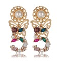 New Brinco Retro Earrings Gold Plated Big Number 5 Five Earring Colorful Crystal Baroque Vintage Jewelry for Women Gift PJ-ER019