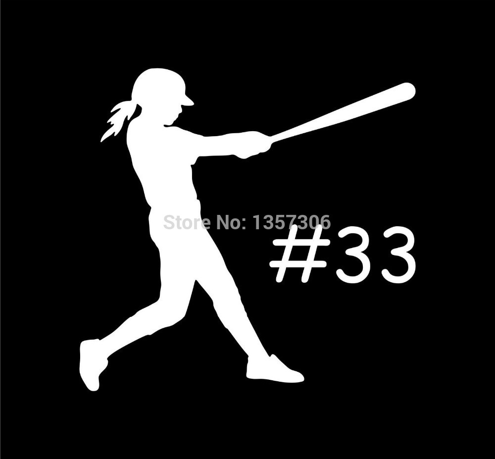 Car sticker maker philippines - Wholesale 50 Pcs Lot Custom Girl Softball Bat Vinyl Decal Car Window Truck Bumper Auto