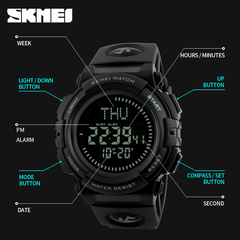 New Brand Outdoor Sports Compass Watches Hiking Men Watch Digital Led Electronic Watch Man Sports Watches Chronograph Men Clock And To Have A Long Life. Men's Watches Watches