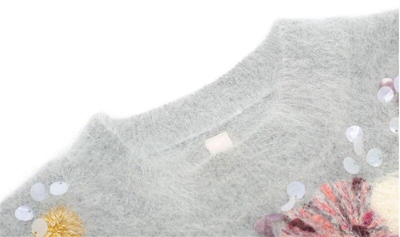 Manches Automne Longues Color Femmes De Haute Piste Mohair Pull S146 Cavalier Broderie Floral Chandail Paillettes Tricoté Hiver Qualité Marque Picture À xwrXY1qrR