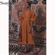 Svoryxiu Designer Summer Party Long Dress Women's Elegant Puff Sleeve Hollow Out Embroidery V Neck Solid Long Dresses Vestdios