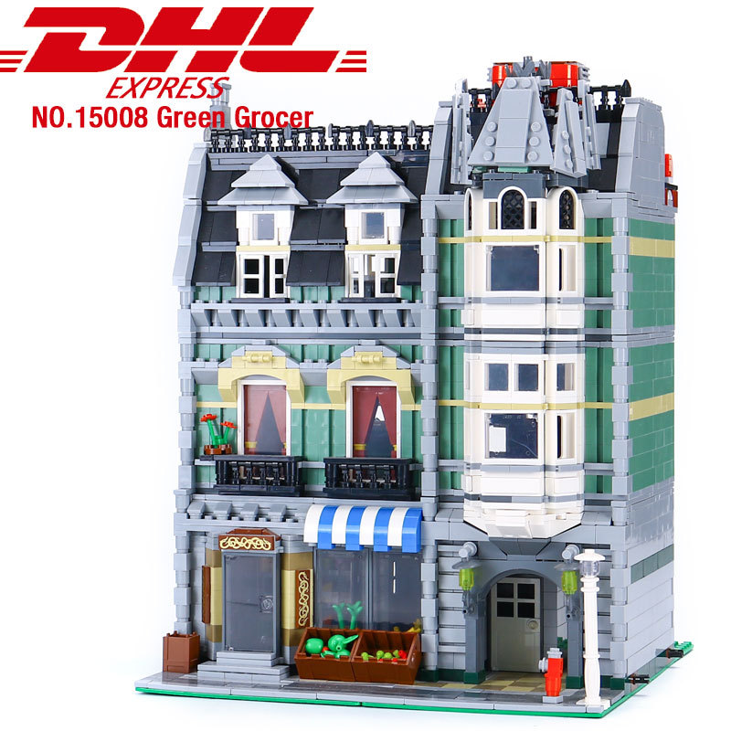 <font><b>15008</b></font> City Streetview series The Compatible With 10185 Green <font><b>Grocer</b></font> Model Building Kits Blocks Bricks Kids Toys Gifts image