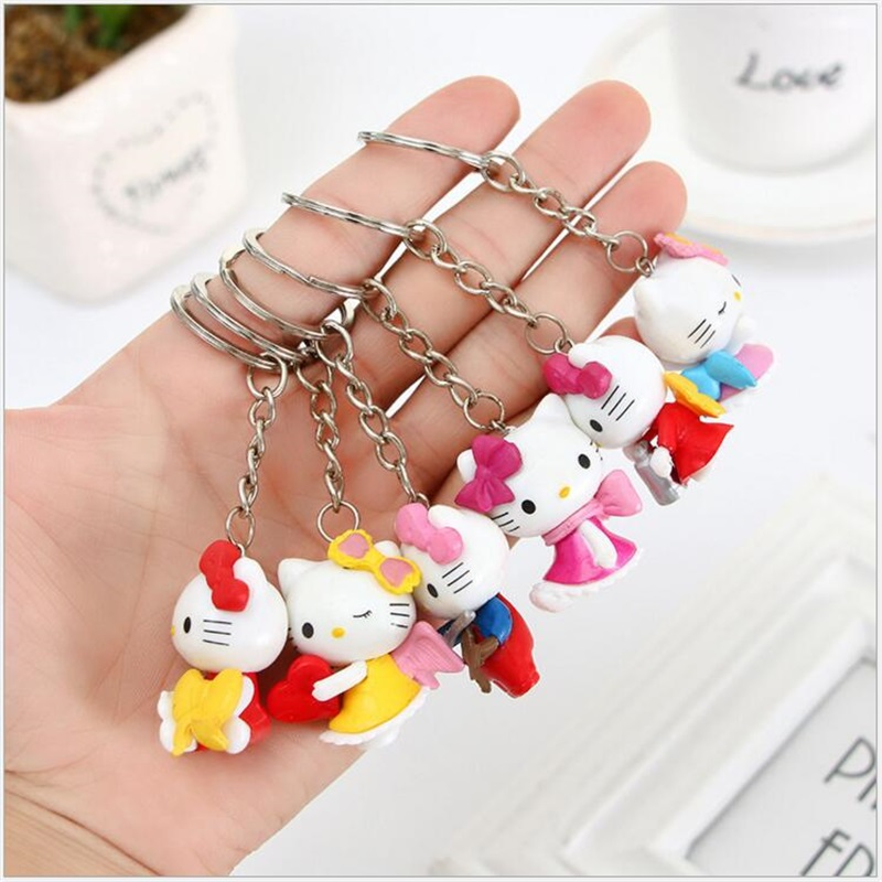 6Pcs/Set 3.5cm Anime Catoon Cute Mini Hello kitty dolls Action Figure Toys  Figures Trolls  Action Figure Toy cartoon character