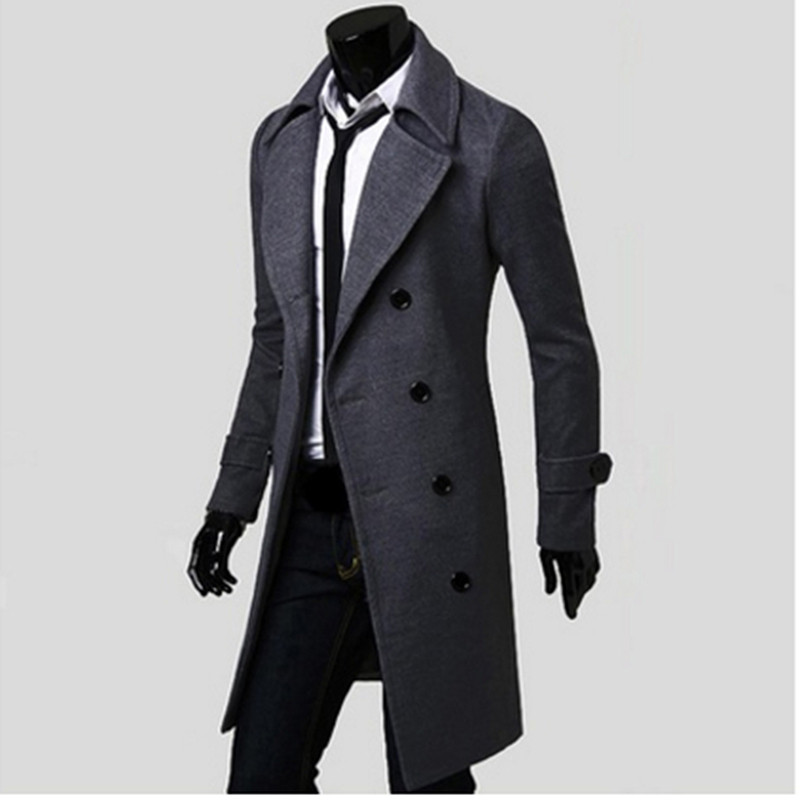Mens Trench Coat 2017 New Fashion Designer Men Long Coat Autumn Winter Double-breasted Windproof Slim Trench Coat Men NQ815086