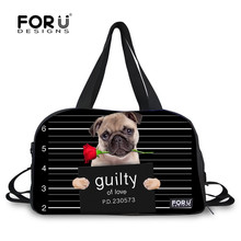 FORUDESIGNS Black Bulldog Bad Dogs Style 28L Women Men Sport Bags Daily Travel Luggage Tote Bag Men's Basketball Foot Ball Bags