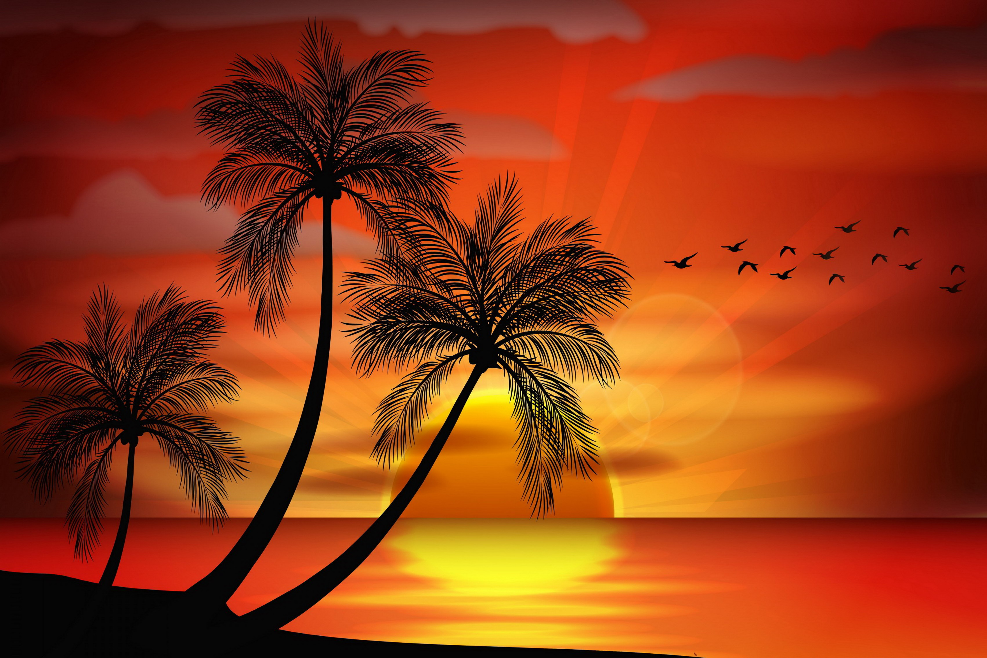 Home decoration sunset sea paradise tropical island palms island landscape silhouette 02 Silk Fabric Poster Print 431FJ