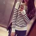 3 colors Women Large Elastic Long Sleeve Knitting Sweater Slash Neck Stripped Lady Knitwear Woman Pullovers