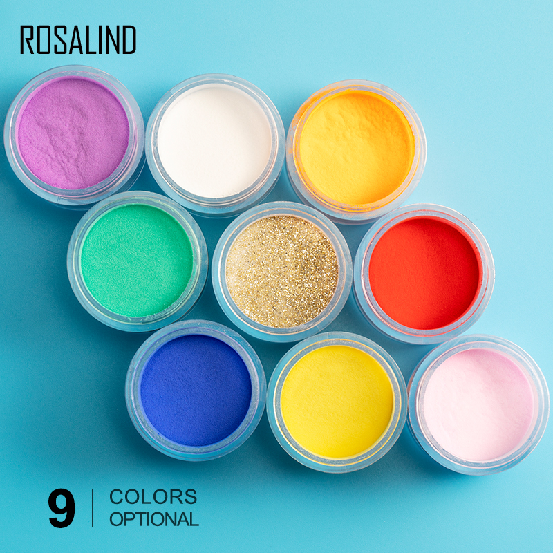 ROSALIND Dipping Powder Acrylic Powder Poly Gel Of Nails Extension Builder Crystal  Nail Art Carving Decoration For Manicure