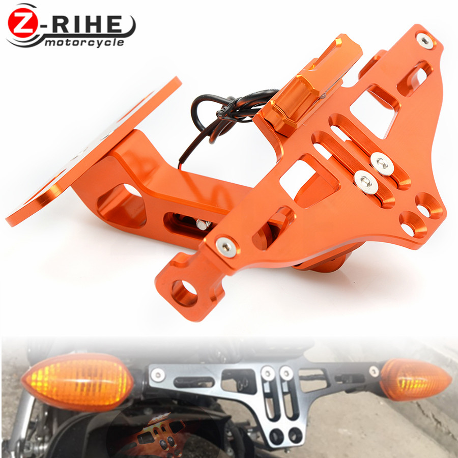 FOR KTM BMW Motorcycle Adjustable Angle Aluminum License Number Plate Frame With Led Indicator Light Holder Bracket Universal universal motorcycle adjustable angle aluminum license number plate frame holder bracket for ktm duke 200 390 sx f exc f 85 sx