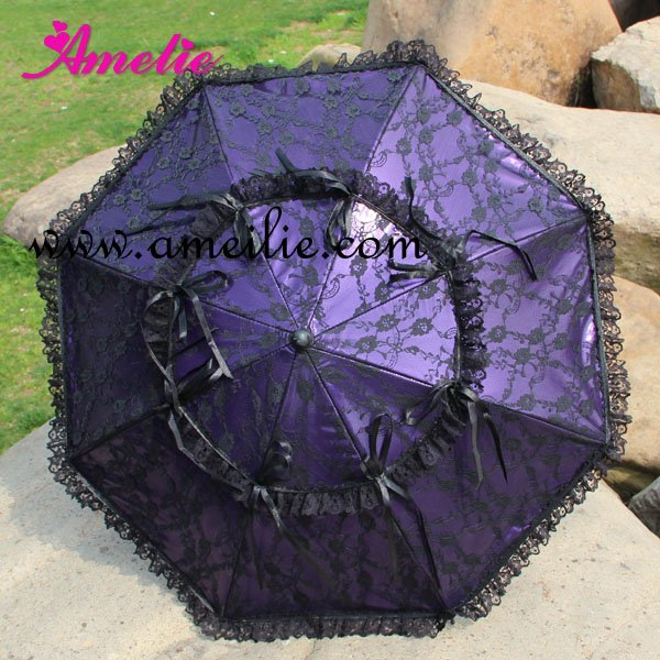 Free shipping Gothic Lolita Style Party Umbrella Princess Lace Umbrella Punk Purple Leather Umbrella with Black Lace Umbrellalace umbrellaumbrella with lacegothic umbrella -