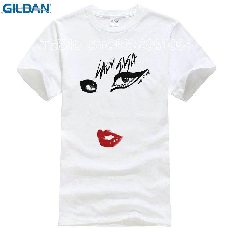 2017 Rushed Promotion Fashion Cotton Tee4u T Shirt Websites Lady Gaga Just Eyes Lips Short Sleeve Printed O-neck Tee For Men