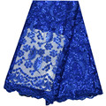 Royal Blue Tulle Lace Fabric With Sequins High Quality Nigerian Wedding African Lace Embroidery Organza Lace Fabric For Party