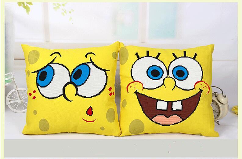 Nette Spongebob Kreuzstich Platz Kissenbezug Karikatur Dekokissen Abdeckung Hand Stickerei Dekoration Kissen