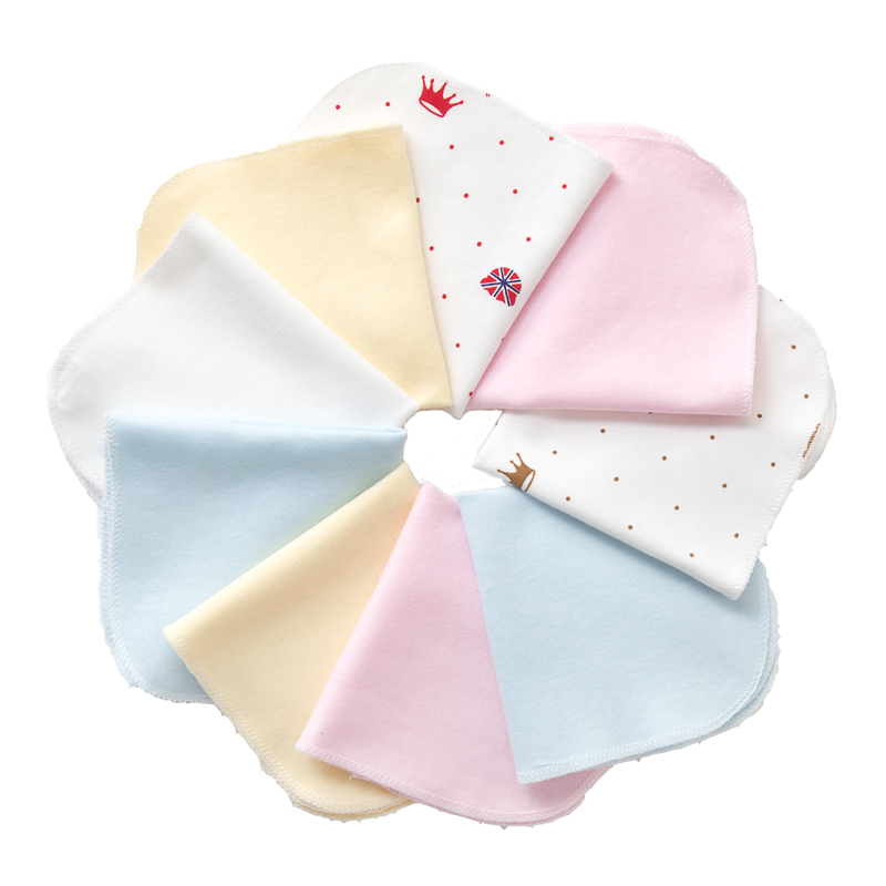 6pcs 100% Cotton Newborn Baby Infant Cartoon Face Hand Bathing Towel Bibs Feeding Square Towels Handkerchief 23*23cm