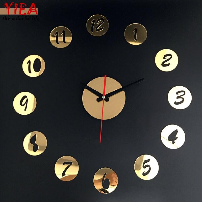 3D Digital Retro Watch Circles Numbers Creative DIY Self Adhesive Acrylic Living Room Decoration Wall Clock Quartz Mirror Clock