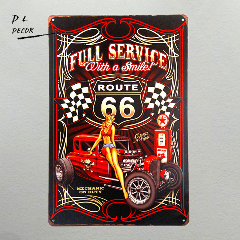 DL-Full Service Hot Rod Route 66 Metal Sign pin up girls with smile vintage Garage wall art poster home decoration accessories