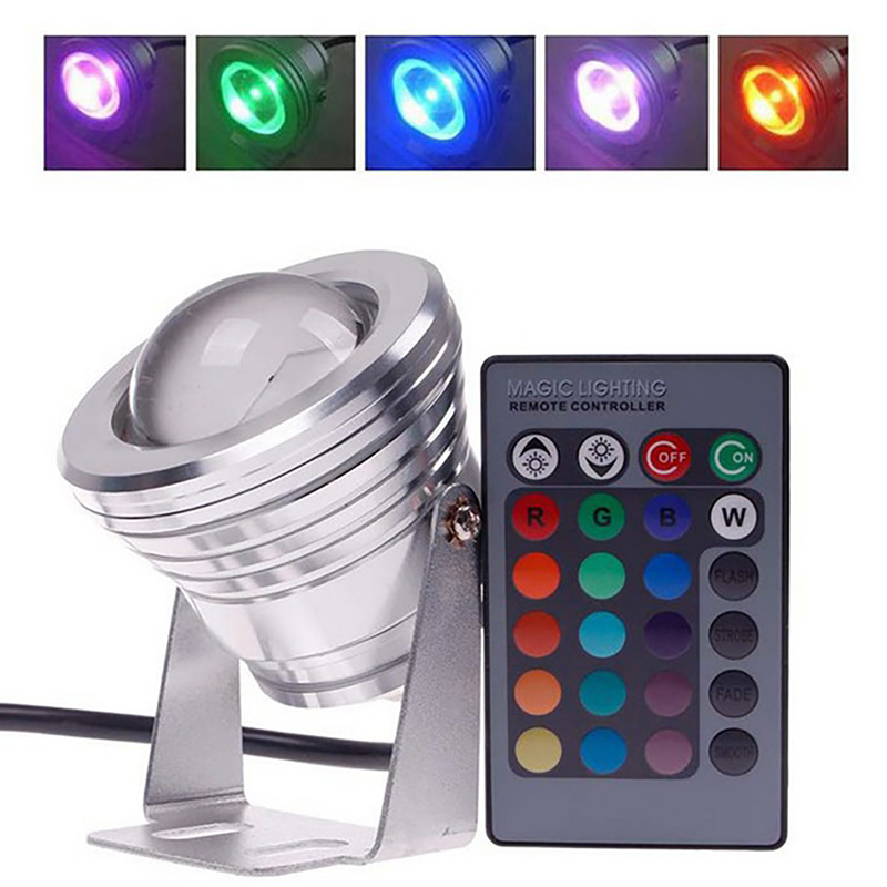 10W RGB LED Underwater Light Pond Submersible Waterproof Swimming Pool Aquarium Light Remote for Wedding Party