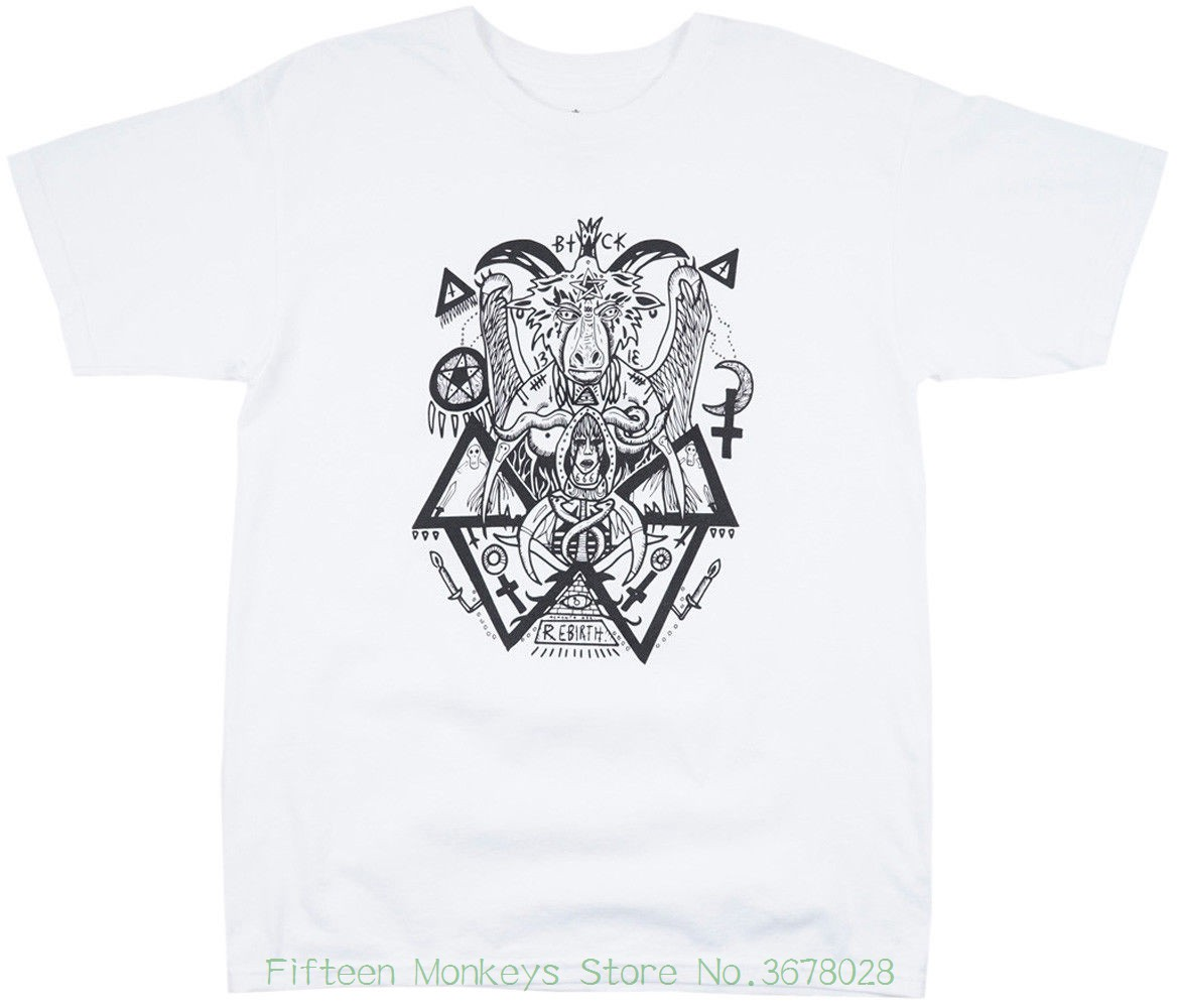 Tshirt Fashion X Johnny Speed T-shirt White Occult Top Mens Baphomet Good Reputation Over The World