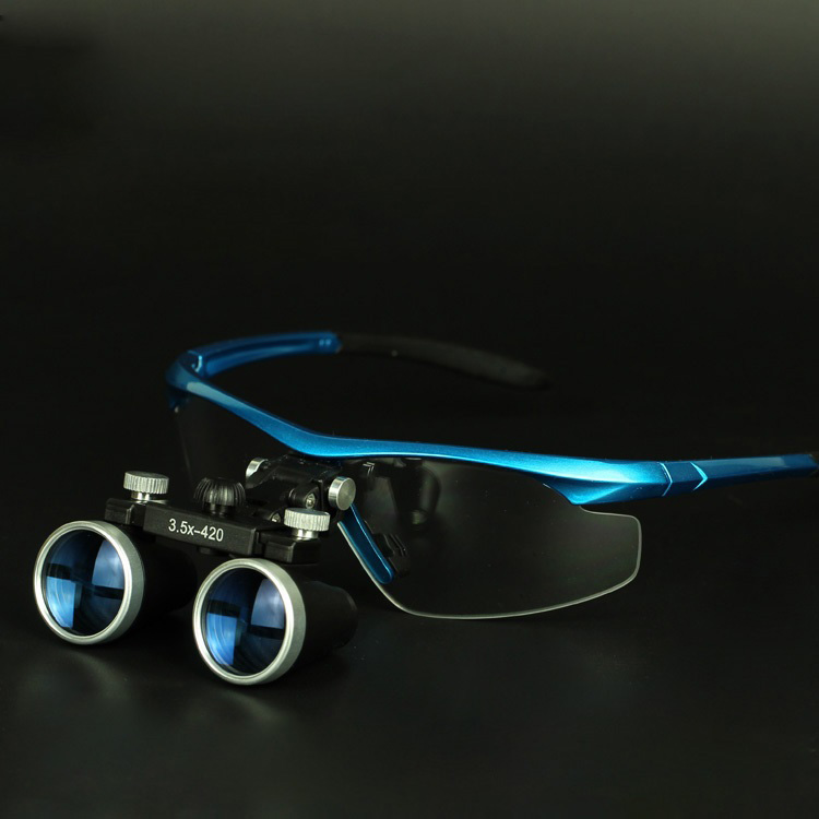 Dental Equipment 3.5X Surgical Medical Blue Dental Loupes Anti fog Lens Dental Glasses