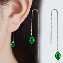 TJP Top Quality 925 Silver Women Tassel Earrings Jewelry Fashion Green Crystal Stones Water Drop For Girl Lady Party