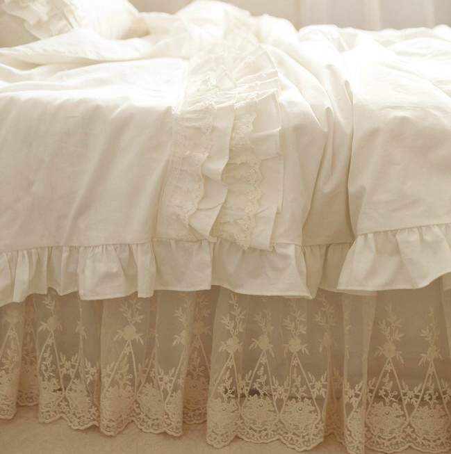 Luxury Embroidered Yarn Ruffle Bed Set Full Queen King
