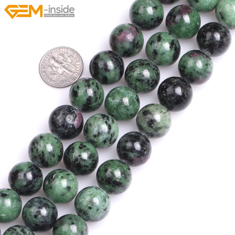 Gem-inside Natural Round Smooth Ruby Zoisite Stone Beads For Jewelry Making Strand 15inches DIY Jewellery