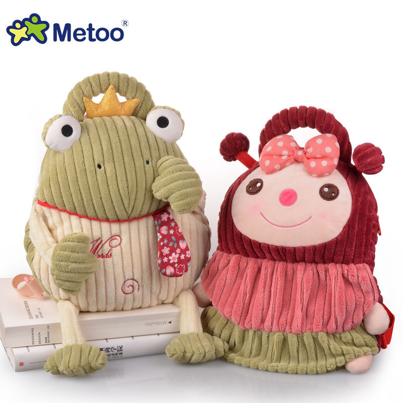 candice guo! Metoo plush toy doll animal backpack soft baby stripe frog monkey schoolbag birthday gift 1pc