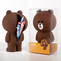 3D Cartoon Cute Pencil Case Bag Silica Gel Kawaii Korean Brown Bear Bunny Cony Pencilcase Gift