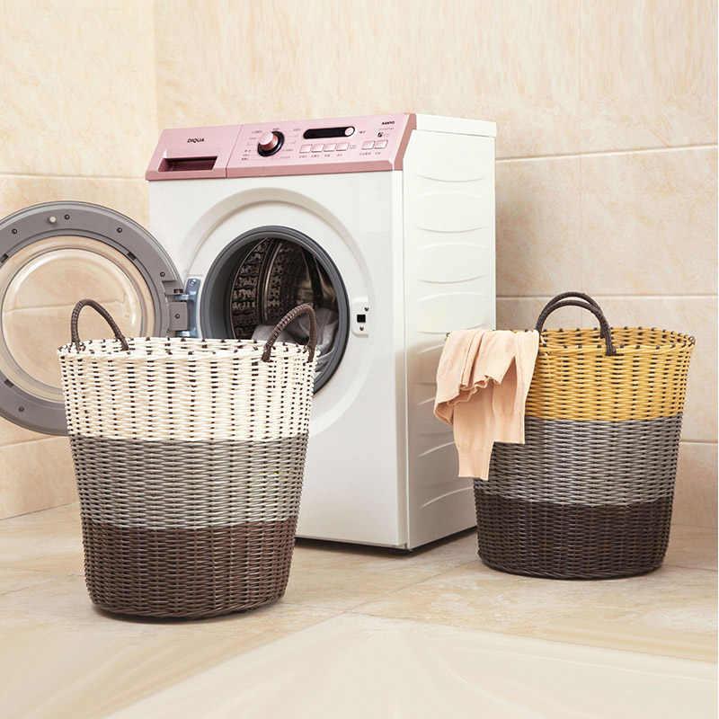Dobrar cesto de roupa suja com punho plástico rattan cesta de armazenamento roupas sujas de armazenamento do banheiro casa grande brinquedo portátil