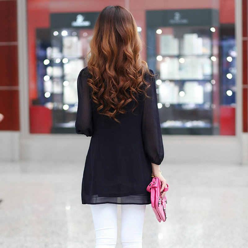 Tunikler Kadınlar tunik Üstleri fırfır bluz 6xl Artı Boyutu Dantel Bayan Giyim Gömlek Uzun Kollu Gömlek 5xl blusas feminina ver o 2018