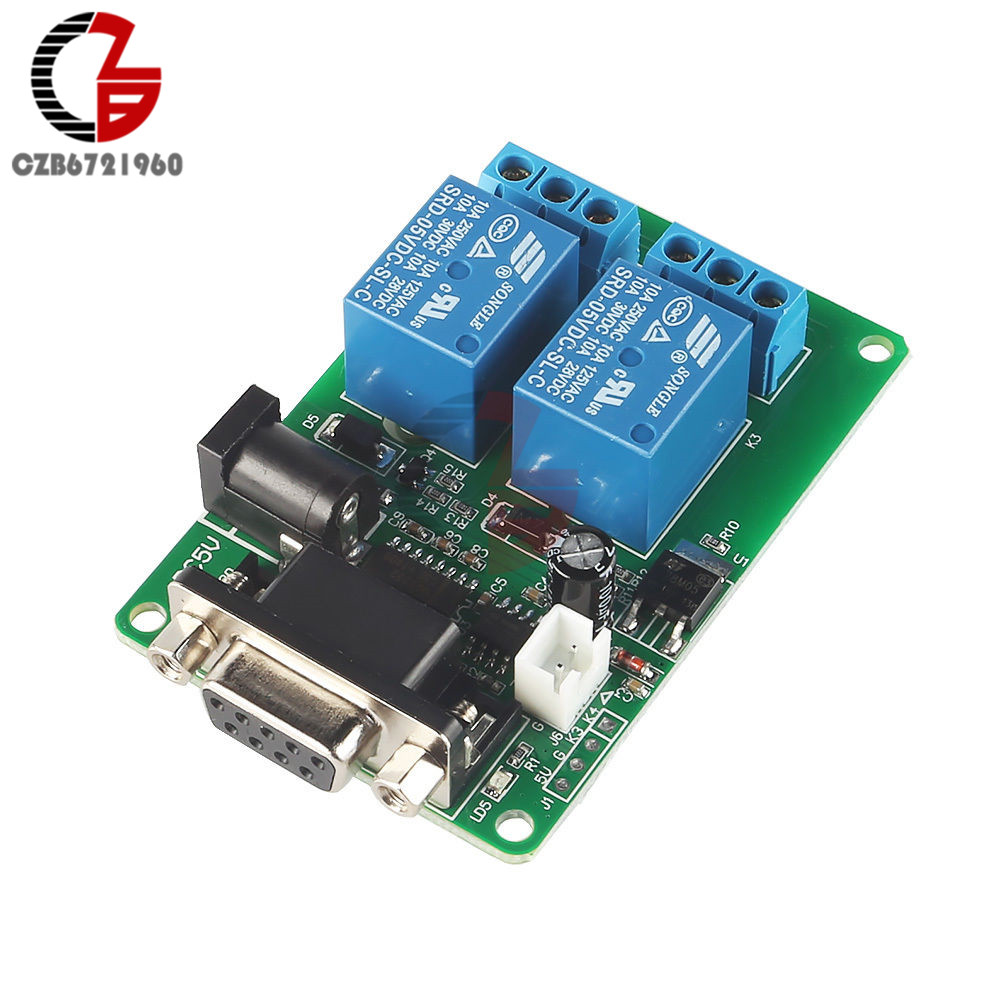 5V 2-CH RS232 Serial Control Relay Switch Board SCM PC Relays hot new relay hf6 73 5v hf6 relays 5v 5vdc dc5v 5v sop 2pcs lot