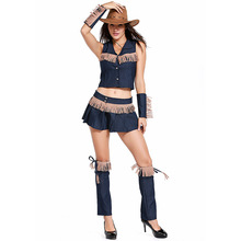 Umorden Womens Quickdraw Cutie Adult Costume Sexy Lady Cowboy Fancy Halloween Purim Party Cosplay with Bra