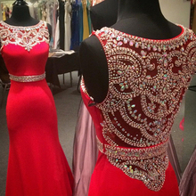 MZ-MSRHS Gorgeous Crystal Red Mermaid Prom Dresses 2017 Real Photo Gorgeous Stone Chiffon Scoop Neck Formal Gowns