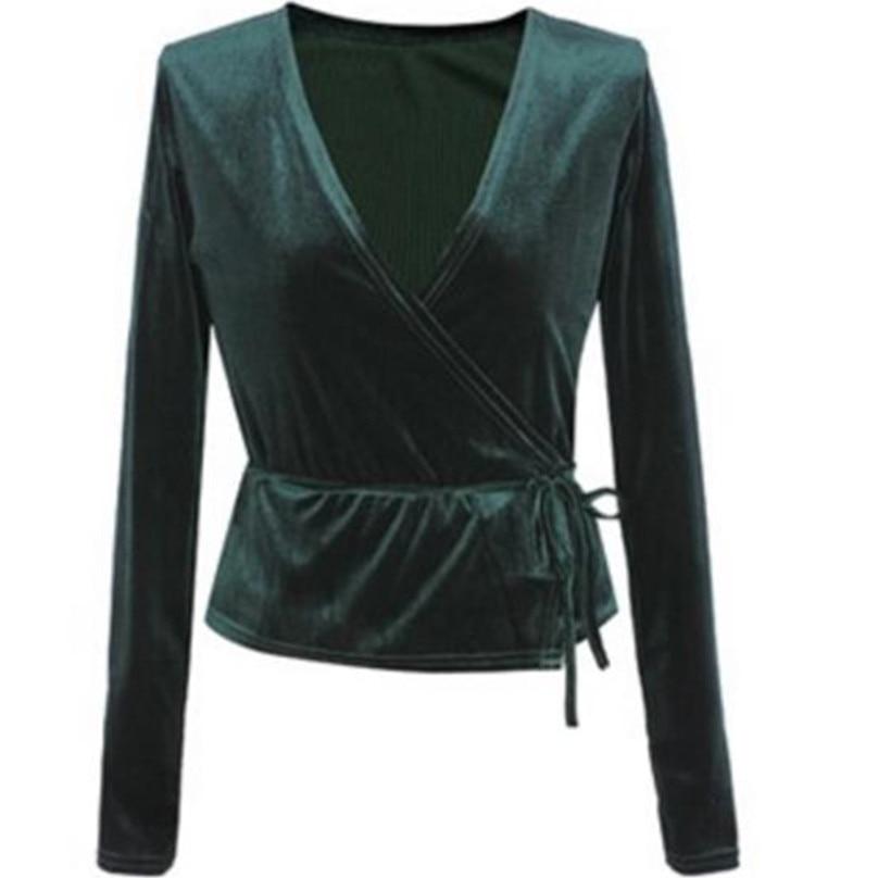 Deep V neck Velvet T Shirt Vestidos 2018 Women long Sleeve Short Tee Shirt Top Fashion Tee