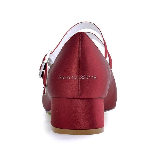 FC1615 Shoes Woman Dark Red Plus Size 12 Block heel Mary Jane Comfort Heel Satin Bride Lady Wedding Bridal Evening Pumps White 10