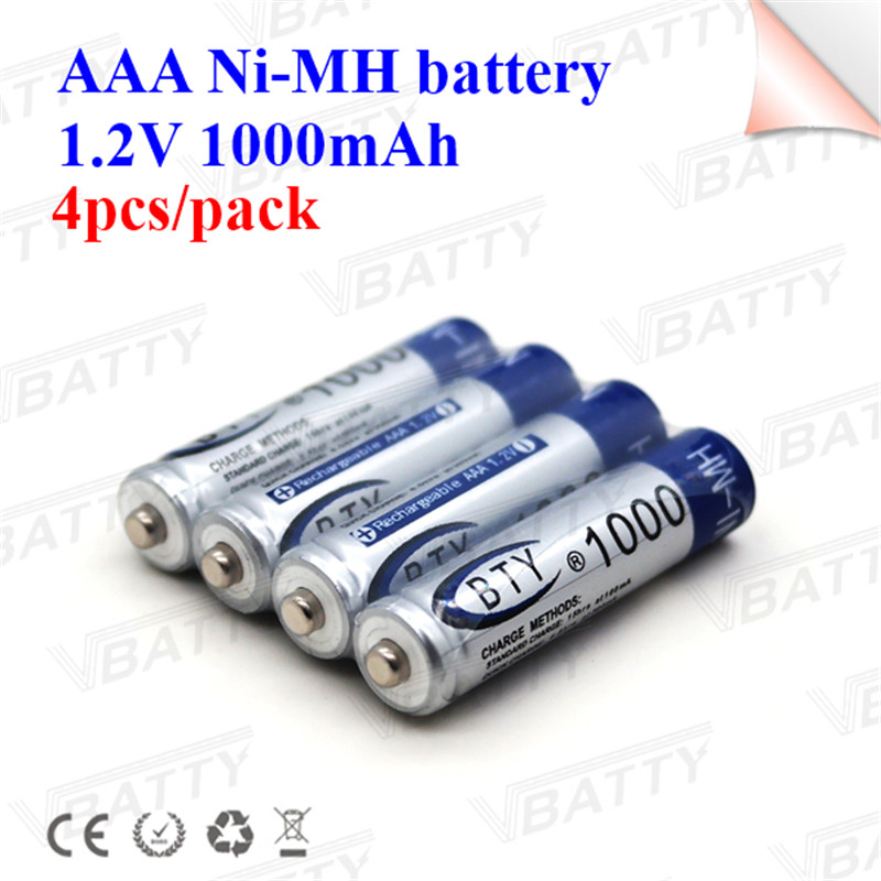 Hot selling Ni-Mh battery cell for BTY AAA size 1.2V 1000mah high capacity rechargeable battery for Electric toothbrush/camera image