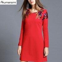 اللباس الصلبة أسود أحمر حزب اللباس جولة طوق الكامل الأكمام الإناث الربيع الخريف الشتاء اللباس زائد الحجم 5xl 4xl 3xl 2xl xl lm