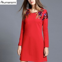 Dress Solid Black Red Female Party Dress Round Collar Full Sleeves Spring Autumn Winter Dress Plus