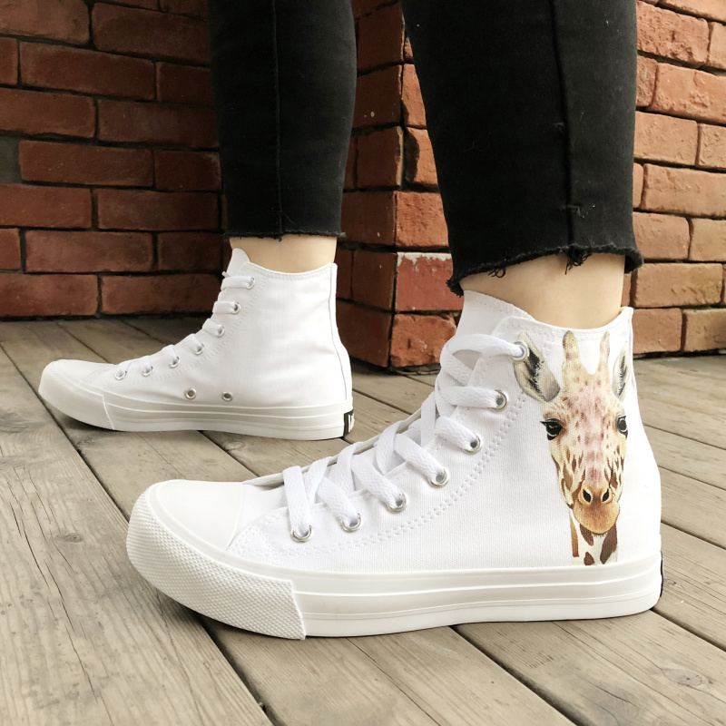 Wen Original Design Hand Painted Animal Shoes Cute Giraffe Pattern High Top White Canvas Unisex Shoes Sneaker Lacing Shoes Skate