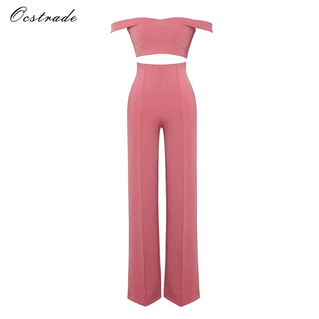 Ocstrade 2 Piece Set Women 2018 Summer Crop Top and Pants Wide Leg Jumpsuit Fashion Pink Off the Shoulder Two Piece Set Outfits