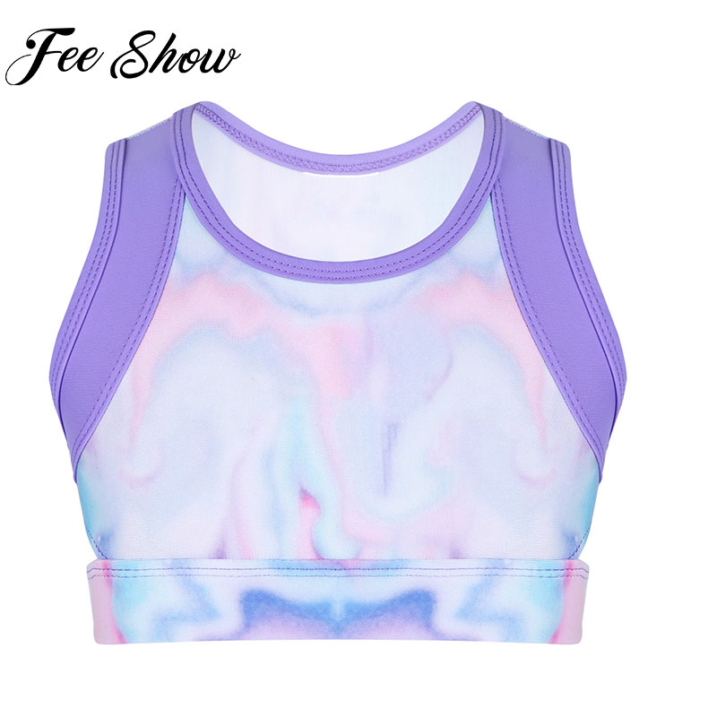 Feeshow Kids Girls Colorful Stretchy Sleeveless Tie-Dye Tanks Crop Top for Ballet Dance Yoga Gym&Stage Performance Workout Tops